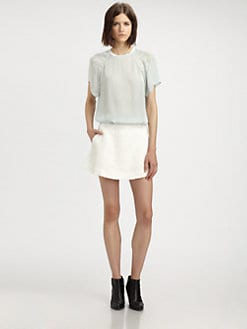 Theyskens' Theory - Ballah Silk Chiffon Pieced T-Shirt