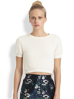 Opening Ceremony - Beaded Cropped Sweater