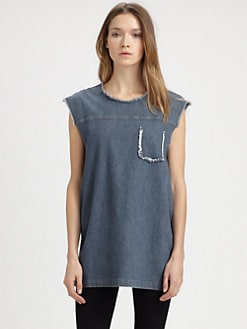 Acne - Omega Frayed Denim Top