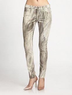 Haute Hippie - Feather-Print Skinny Jeans