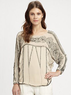 Haute Hippie - Beaded Silk Dolman Top