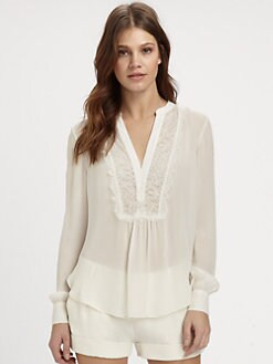 Haute Hippie - Lace-Trim Silk Blouse