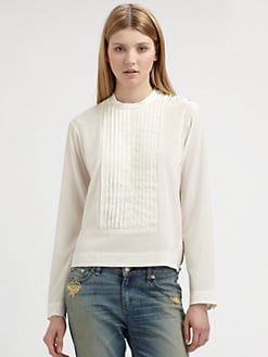 Rag & Bone - Hillary Pleated Stretch-Silk Blouse