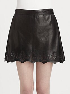 Rag & Bone - Paris Leather Cutout Skirt
