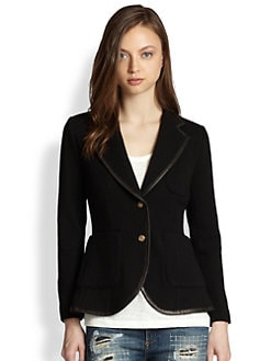 Rag & Bone - Bromley Leather-Trim Wool Blazer