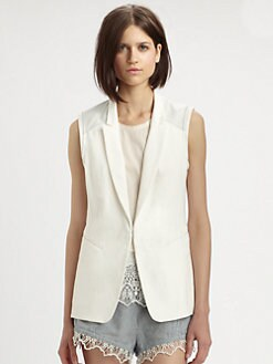 Rag & Bone - Finn Cotton & Leather Vest