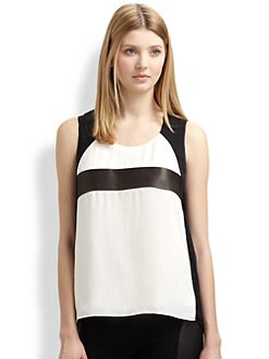 Rag & Bone - Lara Leather-Trimmed Top