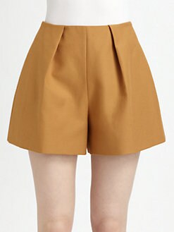 Carven - Pleated Cotton Shorts