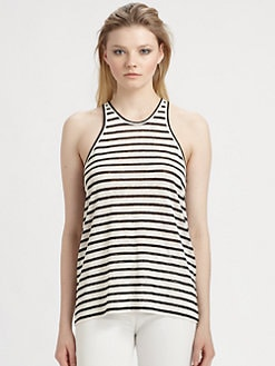 T by Alexander Wang - Linen/Silk Striped Tank