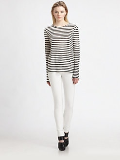 T by Alexander Wang - Linen/Silk Striped Top
