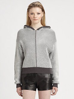 T by Alexander Wang - Herringbone Knit Hoodie Sweater