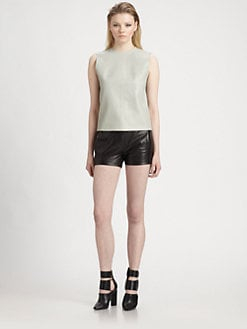 T by Alexander Wang - Leather Zip-Back Top