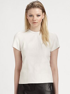 T by Alexander Wang - Lightweight Leather Zip-Back T-Shirt