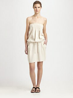 Athe Vanessa Bruno - Silk Smocked Strapless Dress