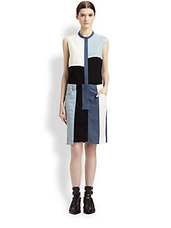 3.1 Phillip Lim - Patchwork Chambray Cut-Up Dress