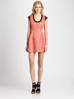 Cut 25 by Yigal Azrouel - Leather-Trim Jacquard Dress