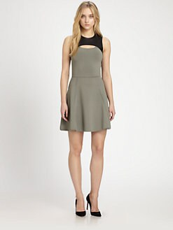 Cut 25 by Yigal Azrouel - Leather-Panel A-Line Dress