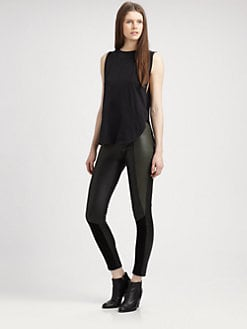 Surface To Air - Deeta Knit-Trim Leather Leggings