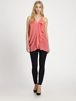 Cut 25 by Yigal Azrouel - Draped Leather-Trim Tank