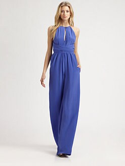 L'AGENCE - Silk Cummerbund Wrap Jumpsuit
