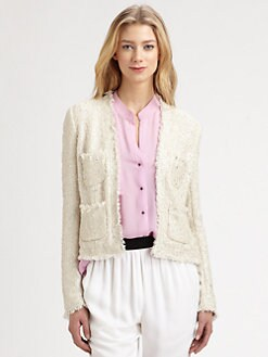 L'AGENCE - Distressed Tweed Jacket