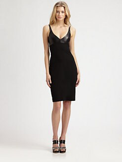 L'AGENCE - Leather-Bodice Dress
