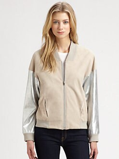 L'AGENCE - Mixed-Media Leather Varsity Jacket