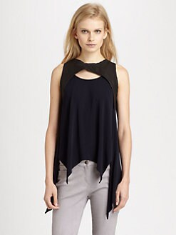 Cut 25 by Yigal Azrouel - Leather & Jersey Knit Top