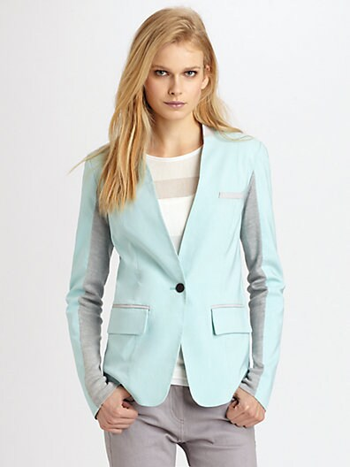 Leather-Trimmed Stretch Faille Blazer
