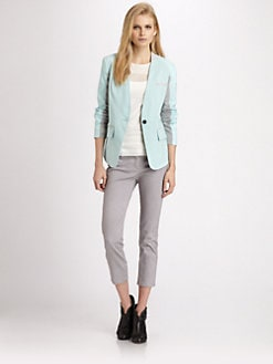 Cut 25 by Yigal Azrouel - Leather-Trimmed Stretch Faille Blazer