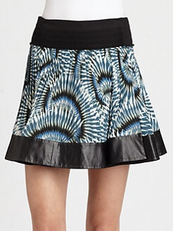 Cut 25 by Yigal Azrouel - Leather-Trimmed Pleated Skirt