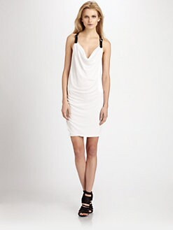 Cut 25 by Yigal Azrouel - Leather-Trimmed Draped Jersey Dress