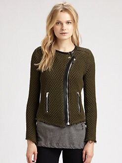 IRO - Miali Leather-Trimmed Sweater Jacket