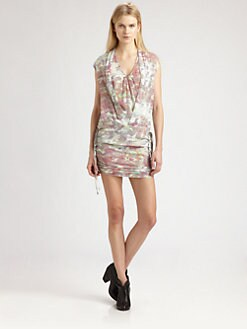 IRO - Swan Stretch Silk Camo-Print Dress