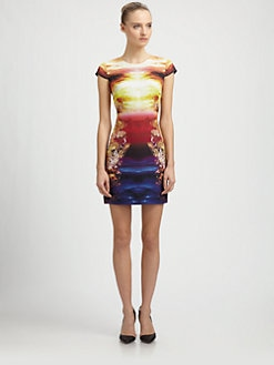 McQ Alexander McQueen - Woven Silk Mineral-Print Dress