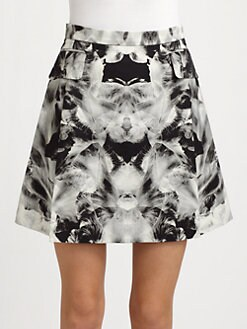 McQ Alexander McQueen - Woven Iris-Print Bell Skirt