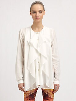 McQ Alexander McQueen - Woven Cotton Ruffled Blouse
