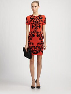 McQ Alexander McQueen - Black Iris Jacquard Knit Dress