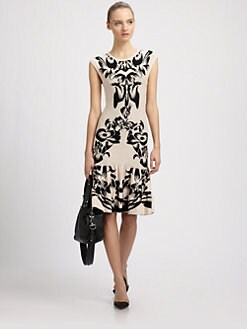 McQ Alexander McQueen - Black Iris Jacquard Knit Flip Dress