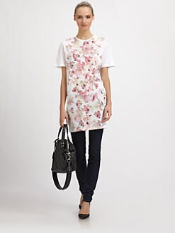 McQ Alexander McQueen - Cotton Knit Iris-Print T-Shirt Dress