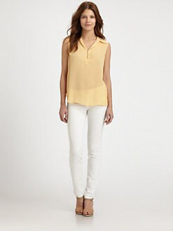 L'AGENCE - Silk Henley Blouse