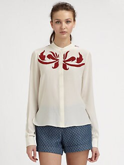 10 Crosby Derek Lam - Embroidered Silk Blouse
