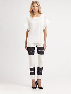 A.L.C. - Paige Mixed-Media Cotton Top