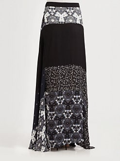 A.L.C. - Brixton Silk Patchwork Maxi Skirt
