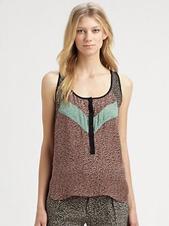 A.L.C. - Ditsy Floral Silk Racerback Top