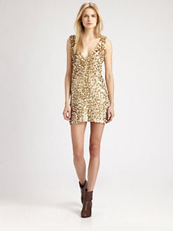 Roseanna - Glitter-Coated V-Back Dress
