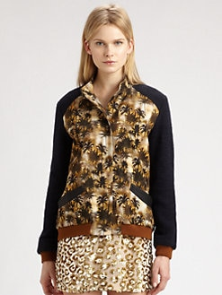 Roseanna - Printed Leather-Trim Baseball Jacket