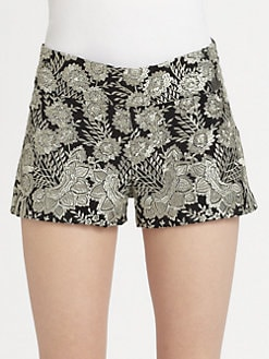 Haute Hippie - Embroidered Silk Shorts