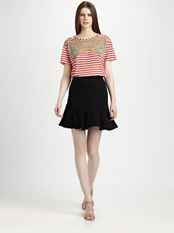 Carven - Striped Paisley T-Shirt