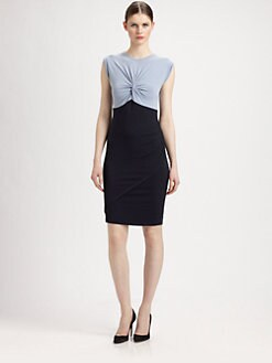 Carven - Gathered Two-Tone Sheath Dress
